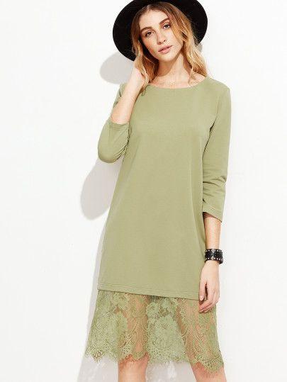 Green Eyelash Lace Trim Tunic Dress