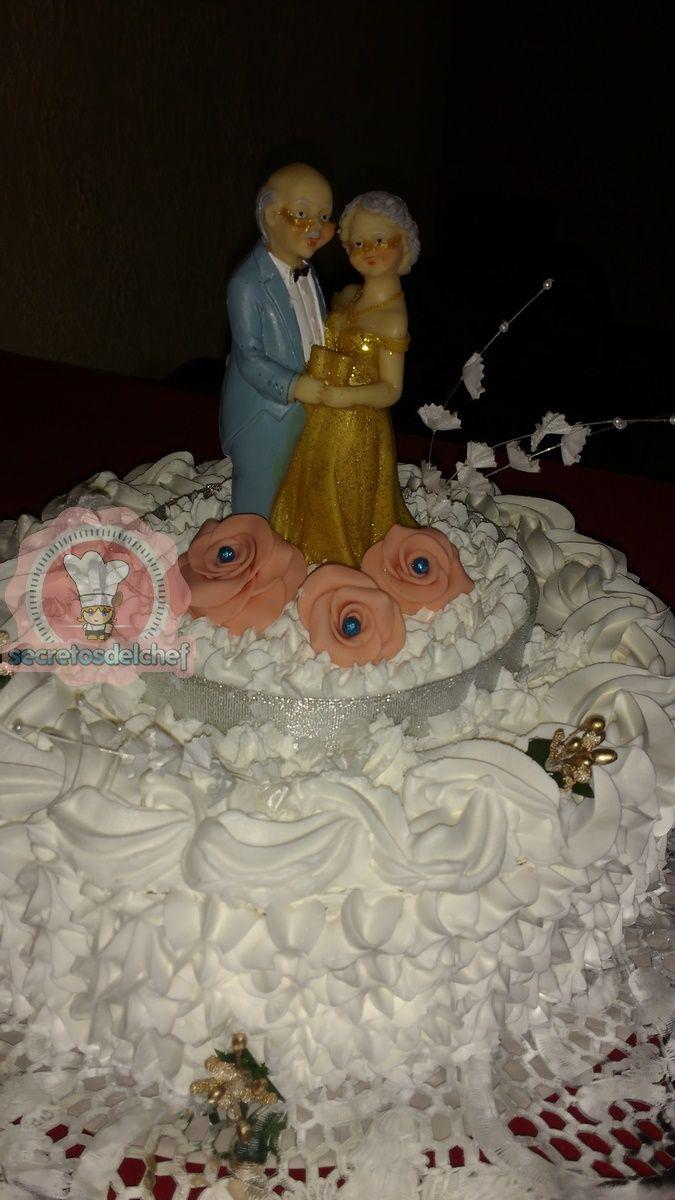 Torta Bodas de Oro bizcocho crema chantilly