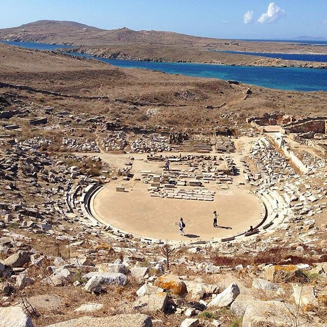 Exploring the Ancient Greek Theatre in Delos island (Δήλος) . It is a UNESCO world heritage site and is just a few miles away from Mykonos island . Perfect for a day trip to discover the amazing Ancient Hellenic history !