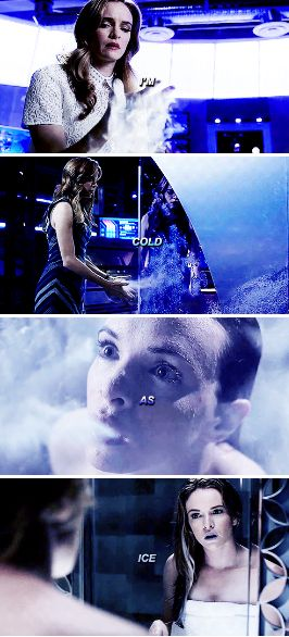The Flash 3x04 - Caitlin Snow - Killer Frost - Caitlin is beginning to physically transform into Killer Frost by her hair turning white and her lips turning blue like her doppelganger in Earth 2