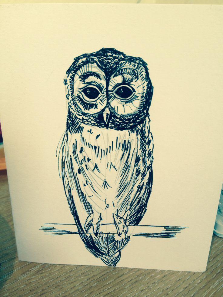 Owl card - using an ink pen