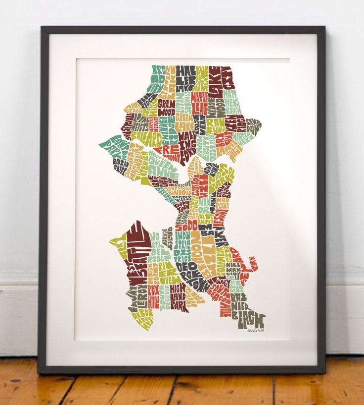 North American Eca Map%0A Seattle typography map  seattle map art  seattle neighborhoods print   seattle washington art