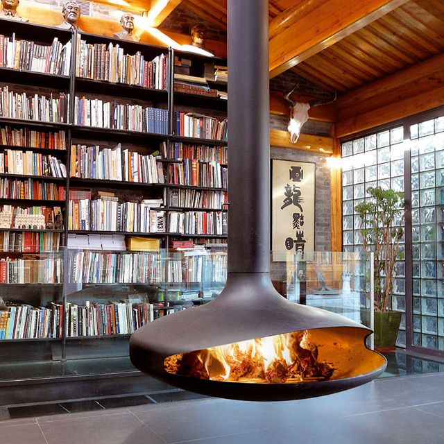 The Gyrofocus fireplace by Dominique Imbart.  Conceived over 30 years ago but still a work of art