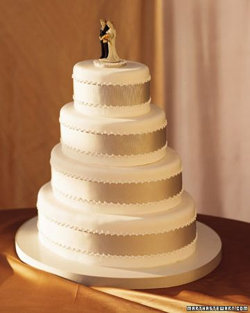 Grosgrain Ribbon Wedding Cake    Sleek, oval tiers enrobed in fondant are at once classic and modern. A band of grosgrain ribbon encircles each layer, secured with piped royal icing. A vintage bisque bride-and-groom cake topper stands on top.