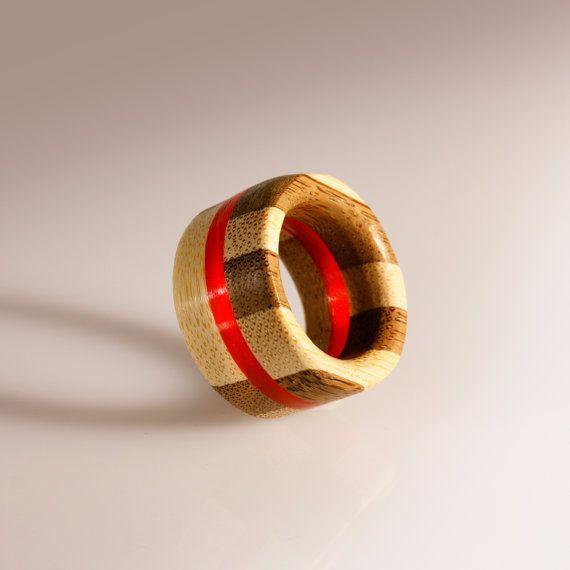 Fedina unisex anello intarsiato in bamboo e di SPhandmadejewelry