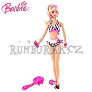 """Barbie v plavkách """"50th souvenior doll""""  Rozměr balení: 13 x 6 x 33cm    Původní panenka Barbie z 1959 přepracovaná do moderního vzhledu. Má krásné husté blonďaté vlasy stažené do culíku, dvoudílné pruhované plavky v moderním stylu a nezbytné příslušenství - kabelku, sluneční brýle a mobilní telefon.  cena: 279 kč"""