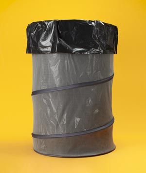Collapsible Laundry Bins as Garbage Bins - Soft-sided, handled laundry bins can double as trash cans while camping