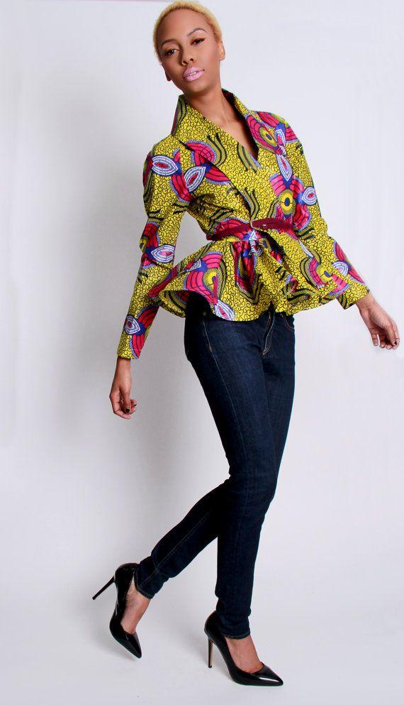 La Patricia-African Print 100% Holanda cera algodón abrigo chaqueta chaqueta