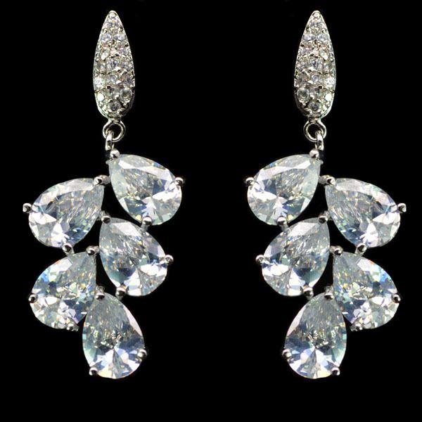 Leaf Droplet Platinum Plated CZ Drop Earrings