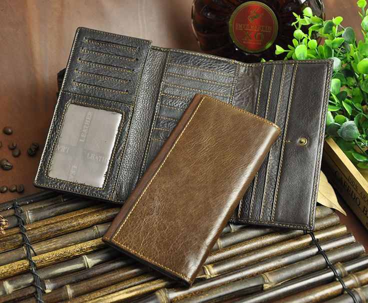 Quality Cattle Men Male Organizal Vintage Trifold Real Genuine leather Card Coin Holder Large Capacity Checkbook Wallet Purse