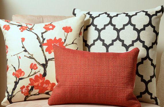 Pillows, Red Pillow, Black Pillow,  Cream Pillow, Decorative Pillow Covers, Moroccan Pillow, Floral Pillow, Basketweave, Modern, Christmas