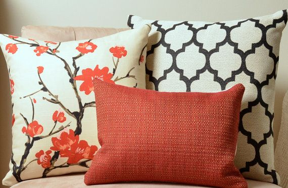 Pillow Set, Red, Black and Cream, Decorative Pillow Covers, Moroccan Pillow, Floral Pillow ...