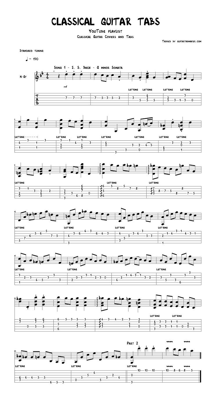 Classical Guitar Tabs In Pdf And Guitar Pro Formats By