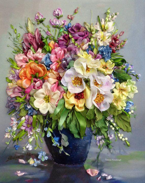 Picture Vintage flowers silk ribbon di SilkRibbonembroidery