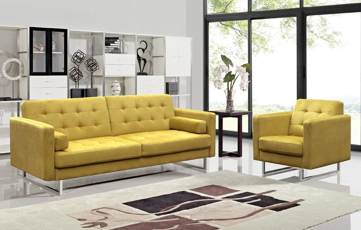 Colvert Yellow Fabric Sofa Bed