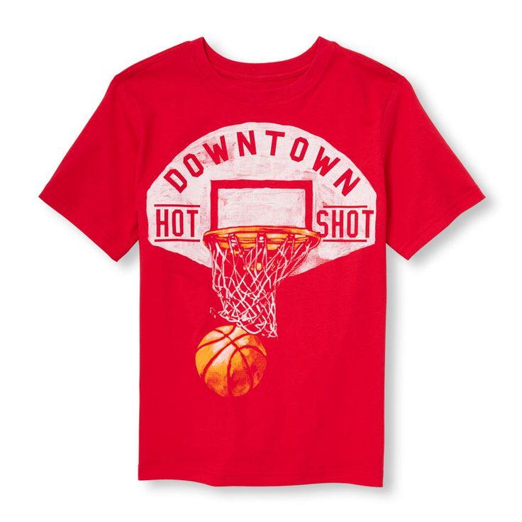 Boys Short Sleeve 'Downtown Hot Shot' Basketball Graphic Tee