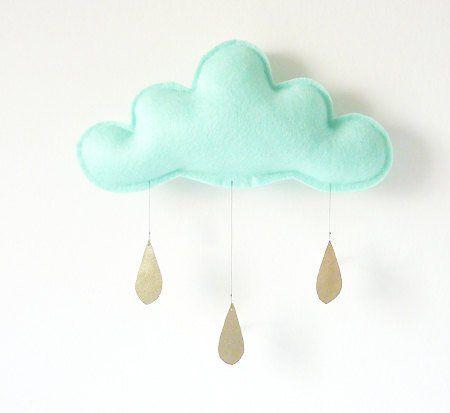 Mobile bébé nuages et gouttes de pluie Mint Menthe décoration chambre bébé