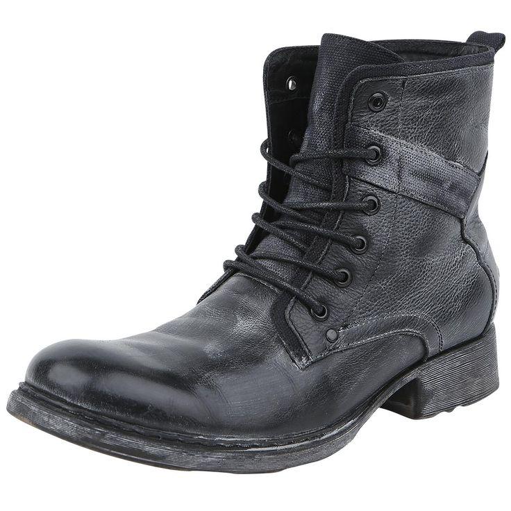 Laarzen van Black Premium by EMP in vintage-stijl en met veters:  - schachthoogte: 15 cm - hakhoogte: 3 cm - logopatch op de onderkant van de schacht
