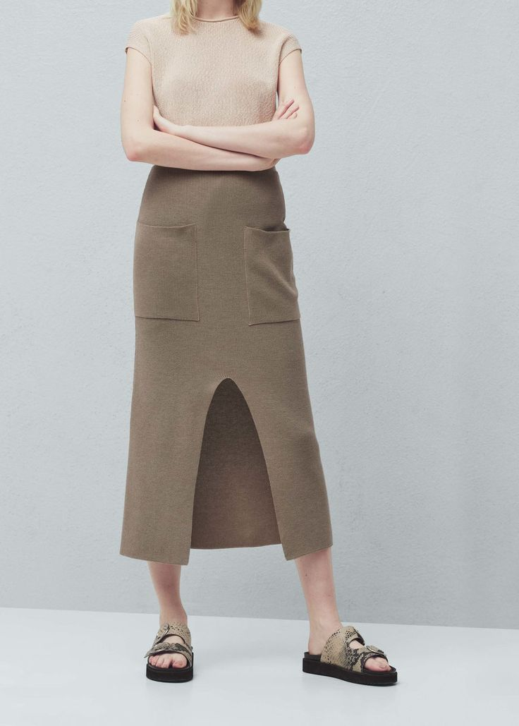 Knitted cotton skirt - Skirts for Women | MANGO USA