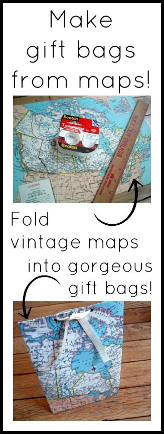 Click to learn how to fold vintage maps into great gift bags!