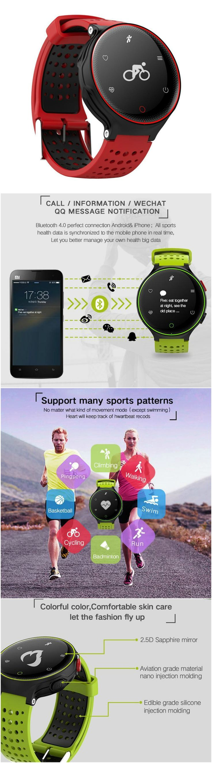 New Fitness Wristband Smart Band - compatible with Android, IOS via Bluetooth. Alarm clock, message and call reminders - perfect for workouts, gym, daily exercise, jogging and running, health and travel enthusiasts. Great accessory for Apple iPhone 6 7 8 Plus X series, Samsung Galaxy series, LG, Sony XZ, Windows phone, smart phones, cell phones and all other mobile phones.
