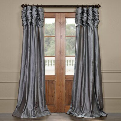 Astoria Grand Hallman Ruched Polyester Single Curtain Panel Size per Panel: 50″ W x 84″ L, Curtain Color: Platinum