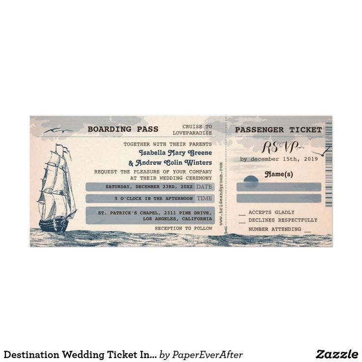 Destination Wedding Ticket Invitation