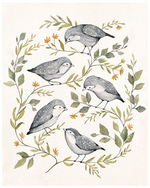 Awesome Etsy listing at https://www.etsy.com/pt/listing/194386126/bird-family-art-print-11x14