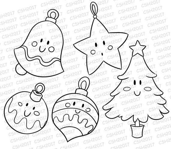 Clear Stamps Digital Stamps Kawaii Christmas Ornaments Etsy Kawaii Christmas Digital Stamps Christmas Coloring Pages