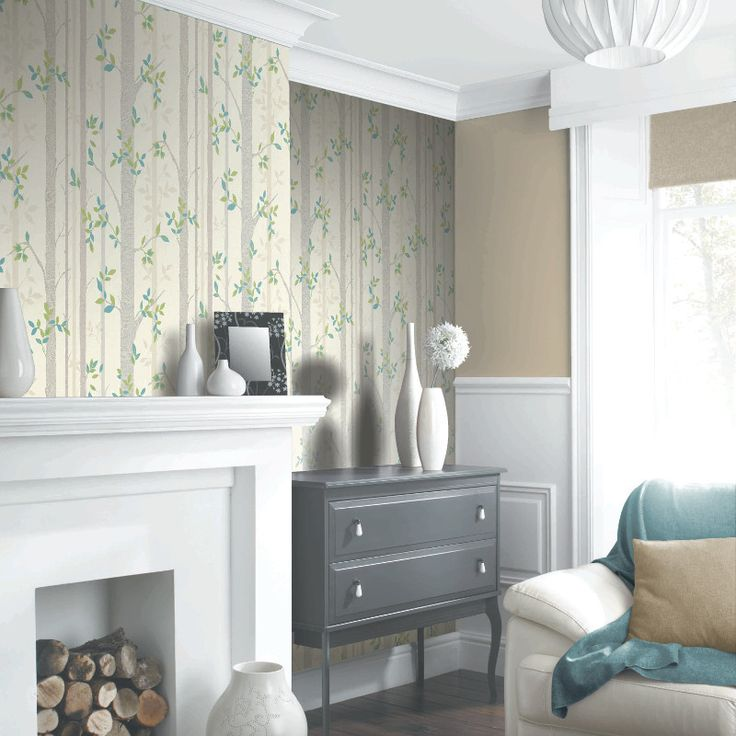 Dining Room Wallpaper Uk Part - 50: Arthouse Birch Tree Wallpaper In Green - 871703