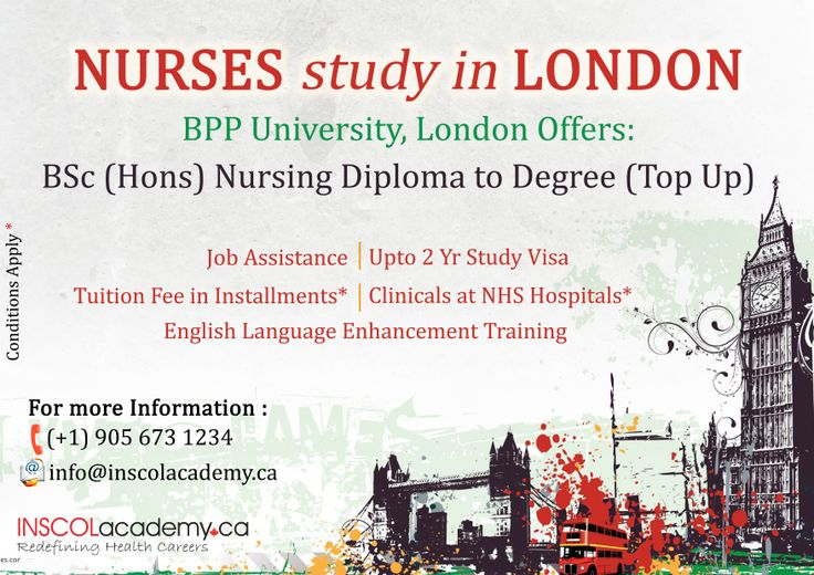 #Nurses study BSc (Hons) #Nursing Diploma to Degree at BPP University, #London. -Clinicals at NHS Hospitals* -Tuition Fee in Installments -Job Assistance -English Language Enhancement Training -Upto 2 Yr Study Visa For More information contact: Call: +91-9872415333 Email: info@inscolacdemy.com
