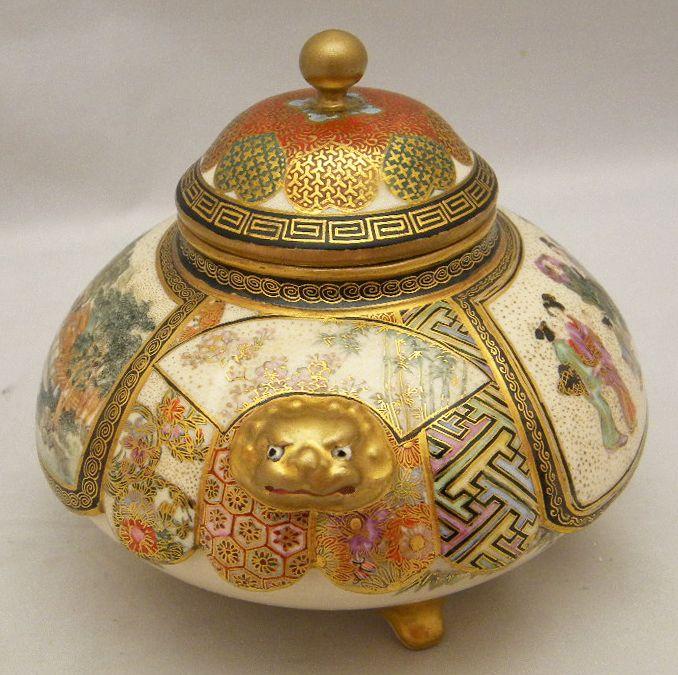 Japanese Meiji tripod Satsuma Jar