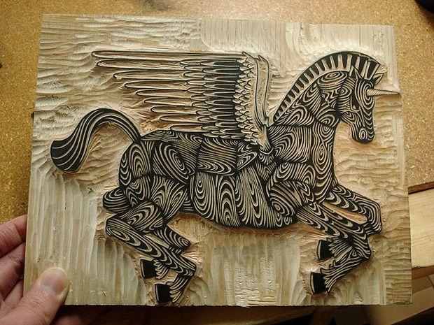 Wood block carving.