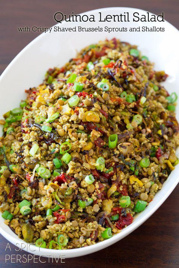 Quinoa Lentil Salad | 23 Vegan Meals With Tons Of Protein #vegetarian #recipes #healthy #vegan #recipe