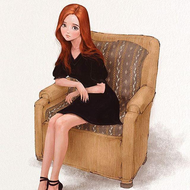 낡은 소파에 나홀로 가만히 앉아. I am sitting still on an old couch.  #illust #illustration #sittingstill #couch #blackminidress #redhair #girl #drawing #sketch #paint #aeppol #애뽈 #일러스트레이션 #일러스트 #소파 #소녀 #레드 #블랙드레스