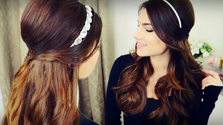 hairband hairstyle can be much more than girlish and playful. In noble metal variants, decorated with rhinestones, jewelry ornaments, feathers and