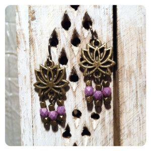 Lotus Earrings Purple