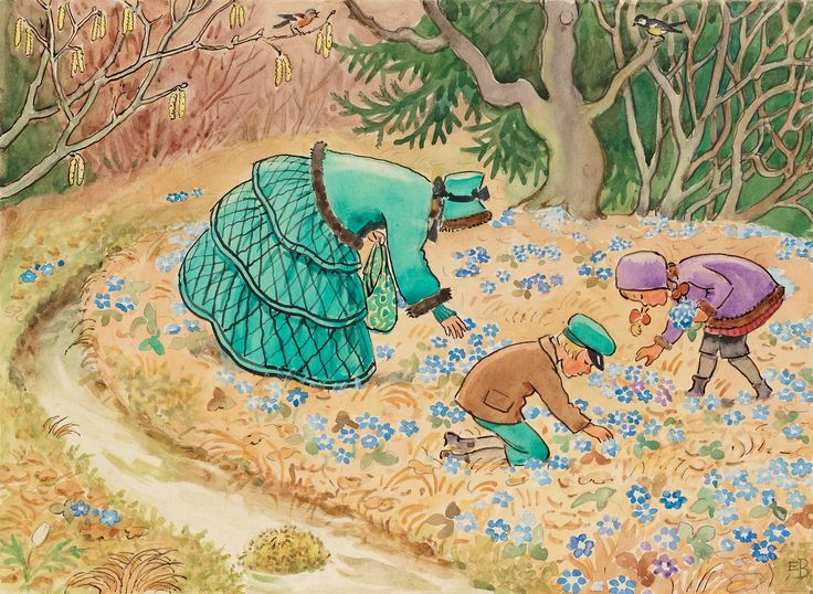 Aunt Green picking bluebells with Petter and Lotta