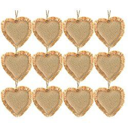 Firefly Craft Rustic Burlap Valentine's Day Heart Ornaments, Package of 12