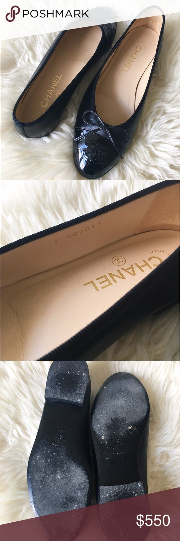 Chanel Ballerina Flats 100% authentic, Chanel Lambskin Flats. Used them a few times and are in excellent condition. When I didn't use them, they always remained in the box. These are technically a size 7.5 (37.5 Euro), but they fit size 7 feet. Dust bag and Chanel box included. CHANEL Shoes Flats & Loafers