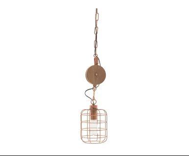 Hanglamp Ricky, koper/naturel, Ø 16 cm