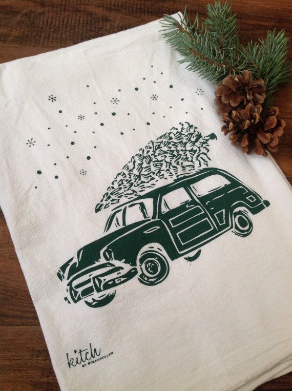 Adorable, hand screen printed Retro Wagon with Evergreen Christmas Tree dish towel (1)...Perfect for your Winter OR Holiday kitchen! 100% Cotton,