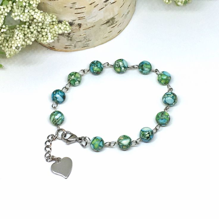 Beaded Bracelet With Extender - Hypoallergenic Jewelry - Anniversary Gift - Heart Charm - Encouragement Gift - Thinking of You Gift by CharmedDaisies on Etsy https://www.etsy.com/listing/555979645/beaded-bracelet-with-extender