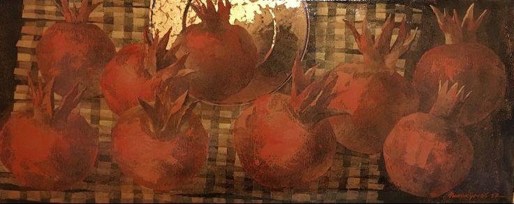 """С. Милокумов """"День девяти плодов. Зимнее солнцестояние"""", 2017, из цикла """"Четыре Солнца"""", холст, авторская техника, 45х113"""