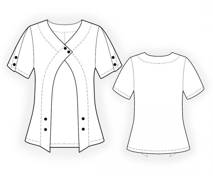 Blouse With Buttons - Sewing Pattern #4471. Made-to-measure sewing pattern from Lekala with free online download.