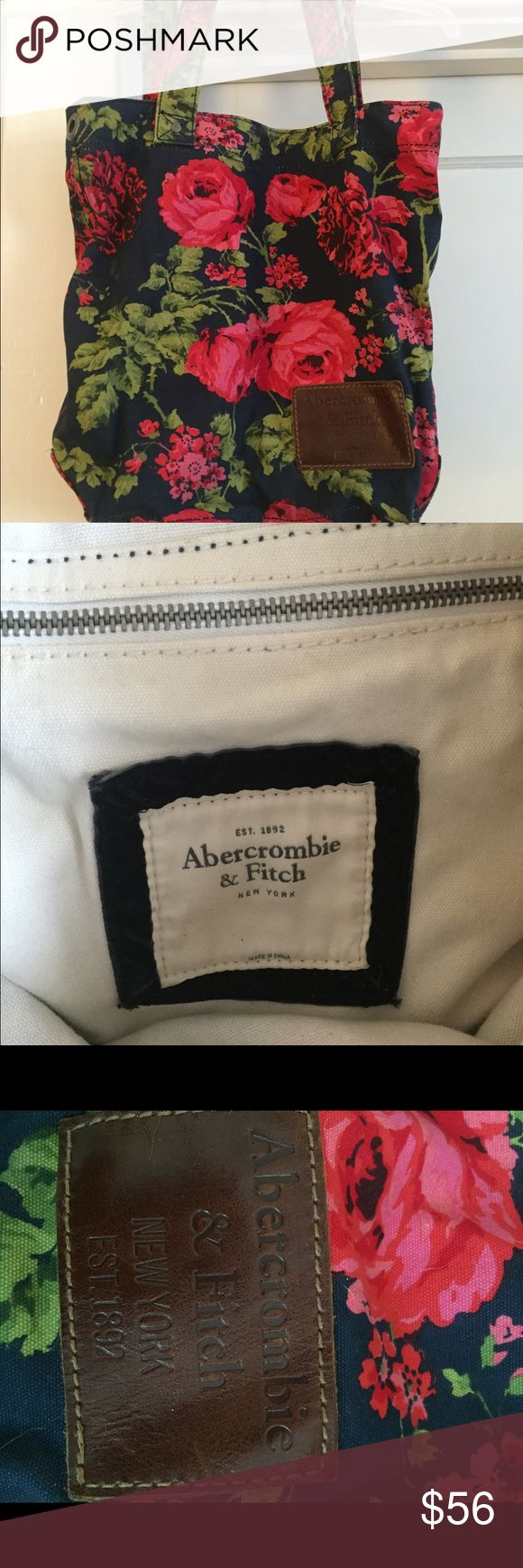 Abercrombie and Fitch Tote Red floral Canvas tote with inside zip pocket Abercrombie & Fitch Bags Totes