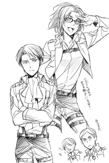 Levi and Hanji,  Scouting Legions Sketch