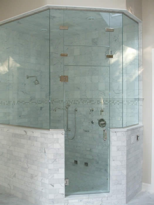Neo angle shower with tiled half walls bathroom ideas for Half wall shower glass