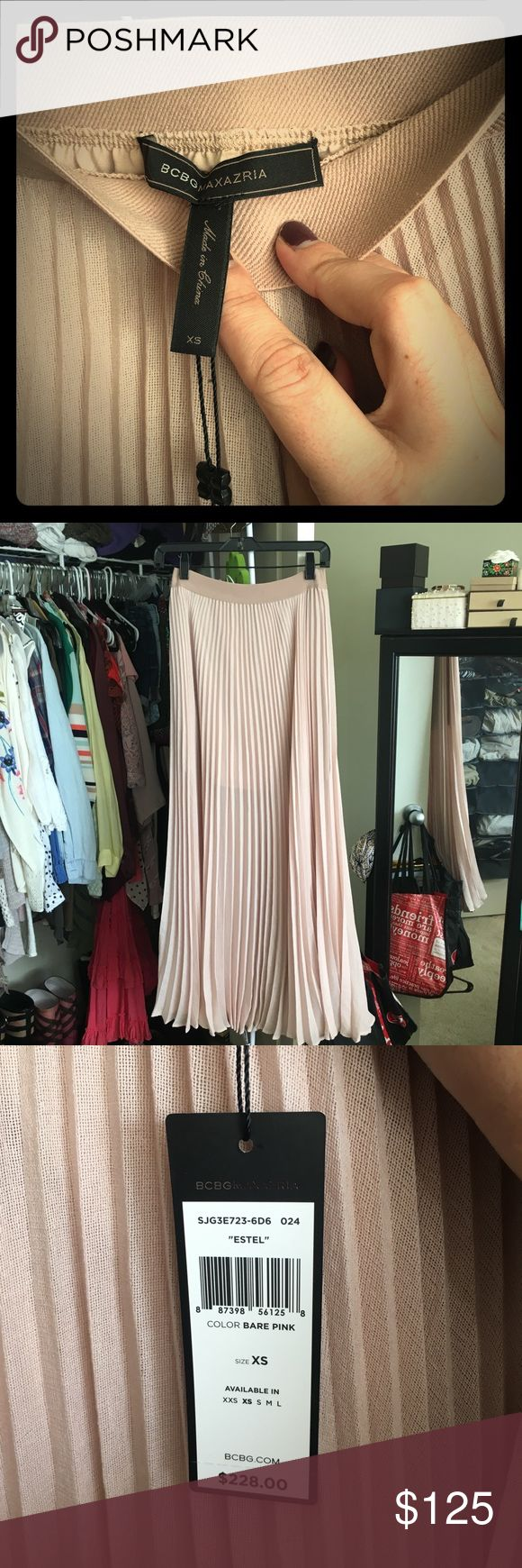 BCBG MAXAZRIA 'Pleated Maxi' NWT and NEVER WORN pleated Maxi skirt- - -GORG on!!!! Pale pink color- - - I'm a size 8 and it fits me perfectly! 🤑SEND ME A OFFER👈🏼🤑 BCBGMaxAzria Skirts Maxi
