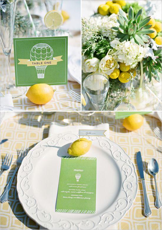 Hot Air Balloon Wedding Ideas, hints of yellow throughout